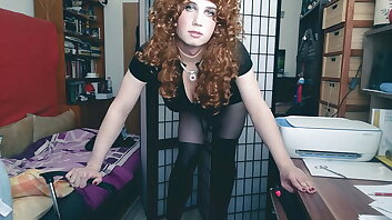 Sissy ginger lady boss tries to fix your boner