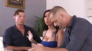Husband gets fucked by the boyfriend. Bull fucks cuckold hubby