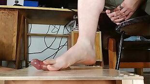 Big cumshot with male bare feet footjob HD