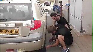 Fix his car and fucks him. Israeli little shaver
