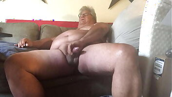 Chubby Bear Dad likes stroking greasy penis and sniffing p. until he shoots hot cum